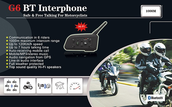 G6 BT interphone bluetooth helmet intercom